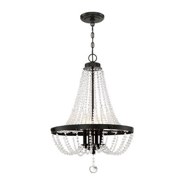 Quoizel Livery 4-Light Vintage Bronze Traditional Stained Glass Empire Chandelier