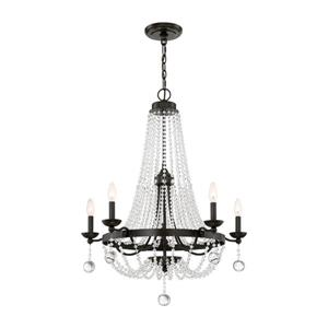 Quoizel Livery 5-Light Vintage Gold Traditional Empire Chandelier