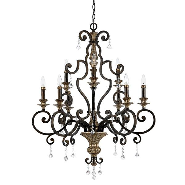 Quoizel Marquette 9-Light Rustic Black Traditional Candle Chandelier