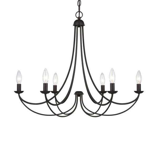 Quoizel Mirren 6-Light Dusk Bronze Traditional Etched Glass Candle Chandelier