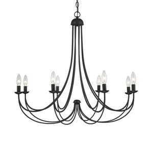 Quoizel Mirren 28-in Western Bronze Traditional Seeded Glass Candle 8-Light Chandelier