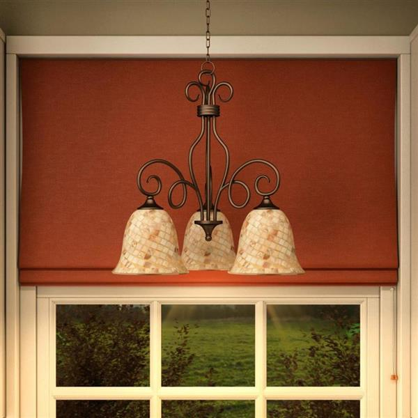 Quoizel Monterey Mosaic 24-in 3-Light   Chandelier with Malaga Finish