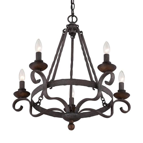 Quoizel Noble 25.5-in 5-Light French Bronze Traditional Candle Chandelier