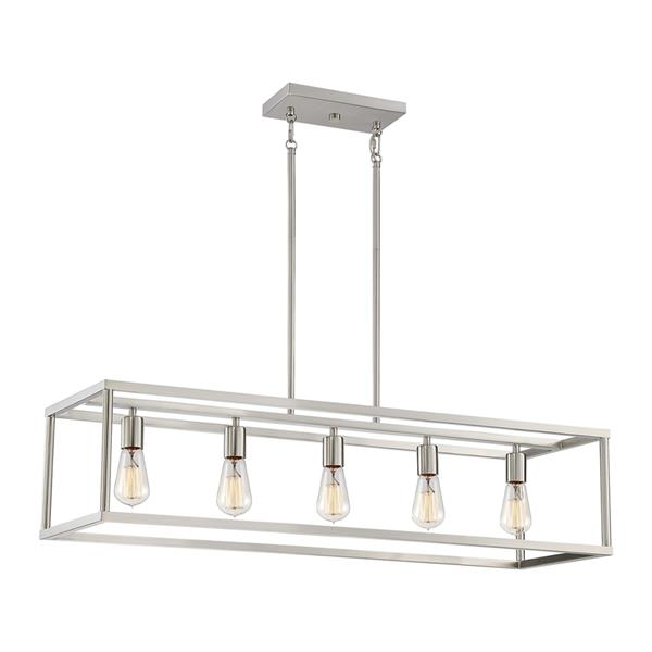 Quoizel New Harbor 38-in W 5-Light Brushed Nickel Industrial Kitchen Island Light with Shade