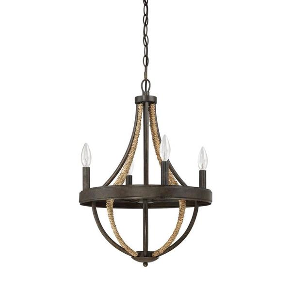 Quoizel Pembroke Dark Cherry 23-in  5-Light Traditional Textured Glass Candle Chandelier