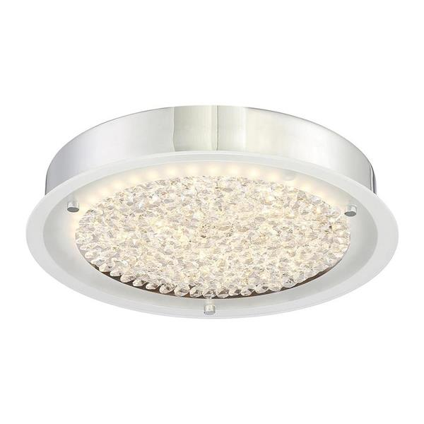 Quoizel Platinum Blaze 12.25-in W Polished Chrome Crystal Accent LED Flush Mount Light