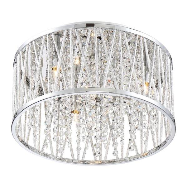 Quoizel Platinum Crystal Cove 13.5-in W Polished Chrome Crystal Accent LED Flush Mount Light