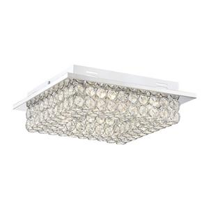 Quoizel Platinum Infinity 12.5-in W Polished Chrome Crystal Accent LED Flush Mount Light