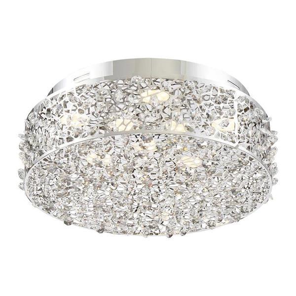 Quoizel Platinum Starlet 13.75-in W Polished Chrome Crystal Accent LED Flush Mount Light