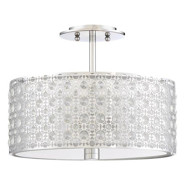 Quoizel Platinum Verity 3-Light Polished Chrome 15-in x 15-in x 12-in Semi-Flush Mount