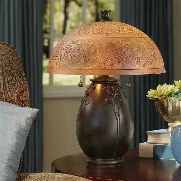 Quoizel Glenhaven 19-in Bronze Patina Table Lamp with Glass Shade