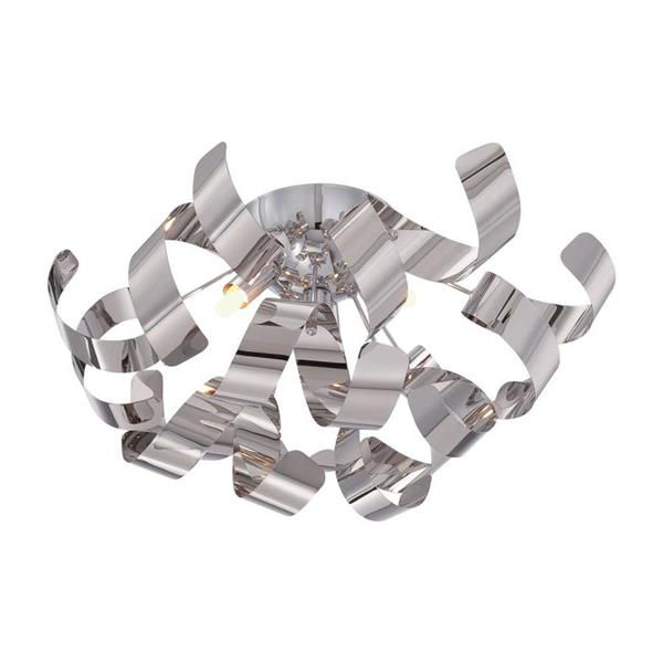 Quoizel Ribbons 4-Light Polished Chrome 16-in x 16-in x 9-in Semi-Flush Mount