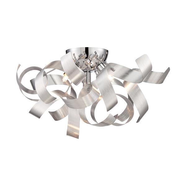 Quoizel Ribbons 4-Light Nickel 16-in x 16-in x 9-in Semi-Flush Mount