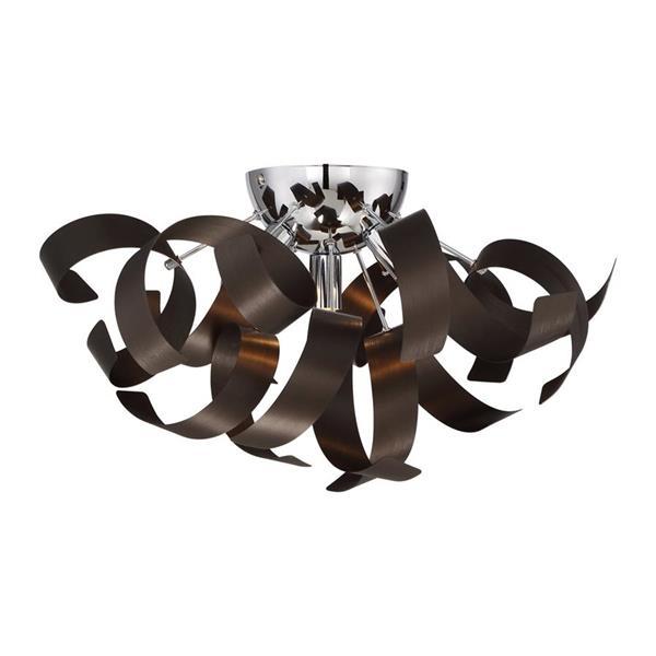 Quoizel Ribbons 4-Light Western Bronze 16-in x 16-in x 9-in Semi-Flush Mount
