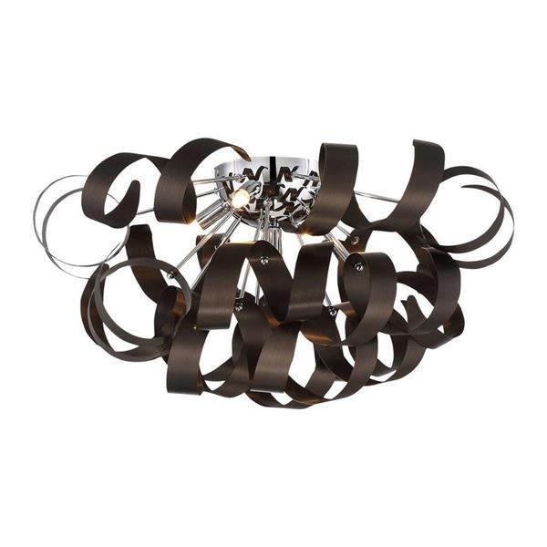 Quoizel Ribbons 22-in W Western Bronze Flush Mount Light
