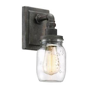 Quoizel Squire 4-in x 11-in Rustic Black 1-Light Jar Vanity Light