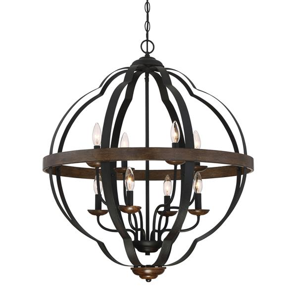 Quoizel Siren 96-in Antique Brown9-Light Transitional Globe Chanderlier