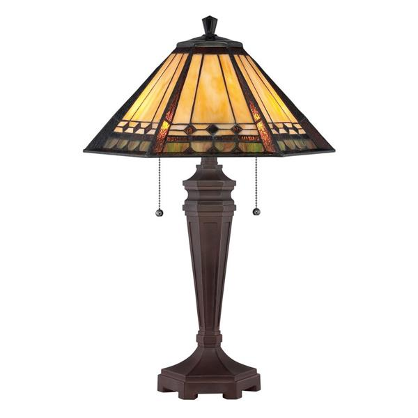 Quoizel Arden 16-in Imperial Bronze Glass Shade Table Lamp