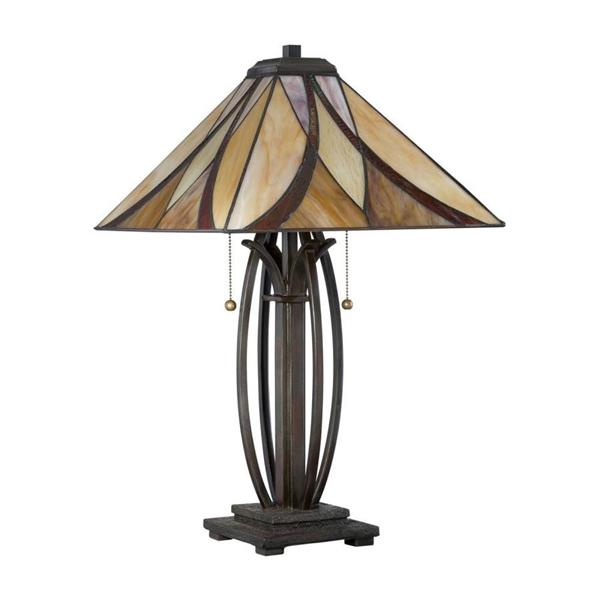Quoizel Asheville 25-in Valiant Bronze Glass Shade 2-Light Tiffany Table Lamp