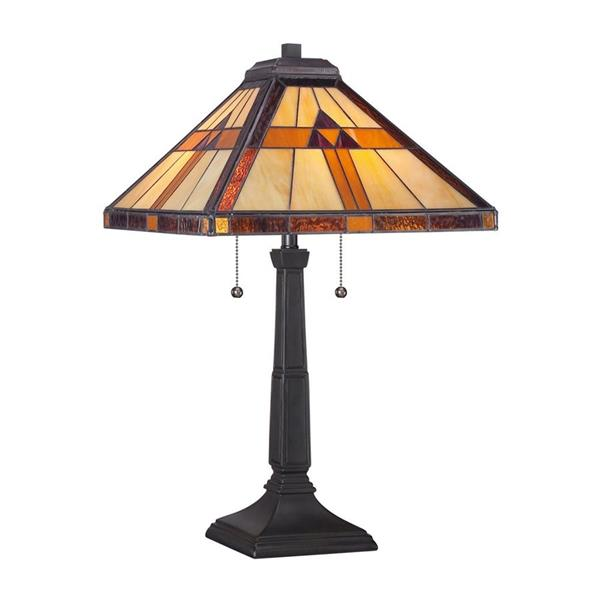 Quoizel Bryant 30-in Imperial Bronze Table Lamp with Glass Shade