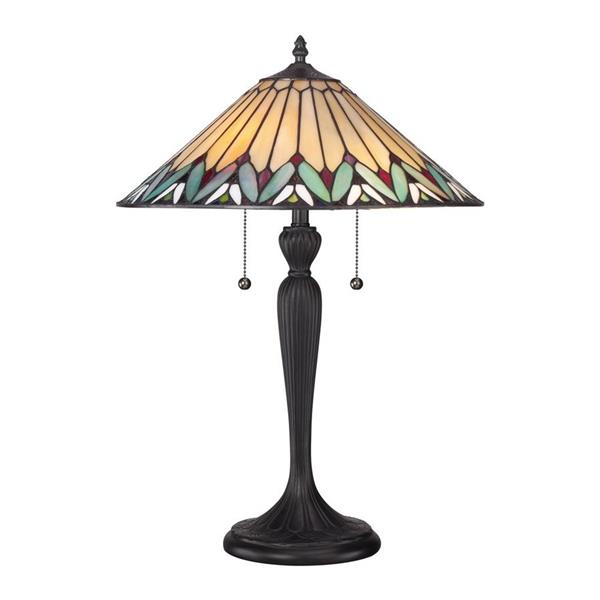 Quoizel Pearson 23-in Wood/Iron Glass Shade 2-Light Table Lamp