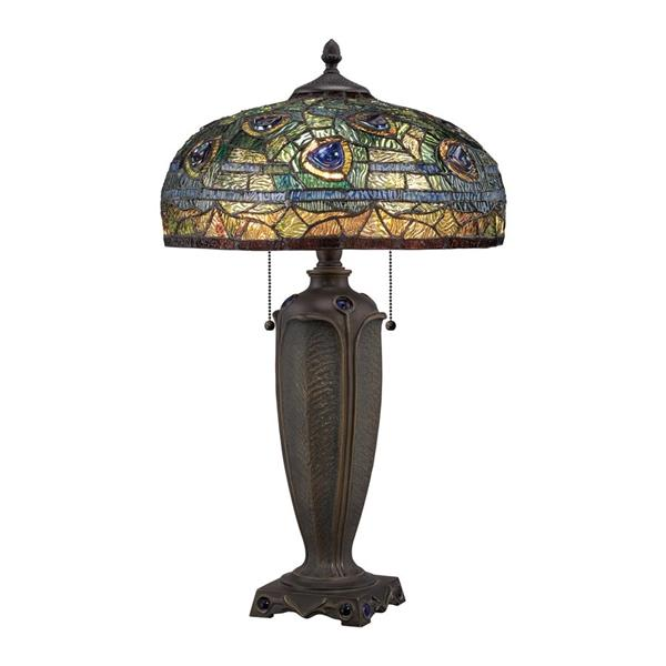 Quoizel Lynch 25-in Renaissance Copper 2-Light Table Lamp with Glass Shade