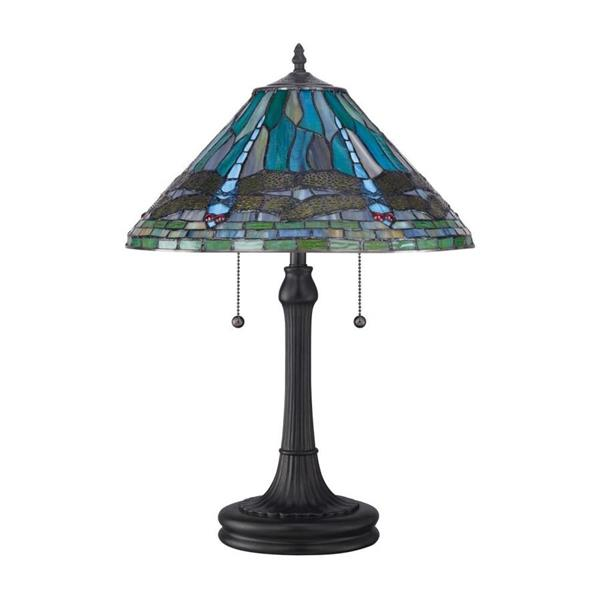 Quoizel King 20-in Cinnamon 2-Light Table Lamp with Glass Shade