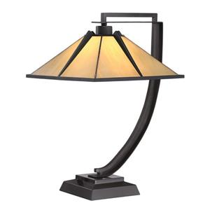 Quoizel Pomeroy 21-in Western Bronze 2-Light Table Lamp with Glass Shade