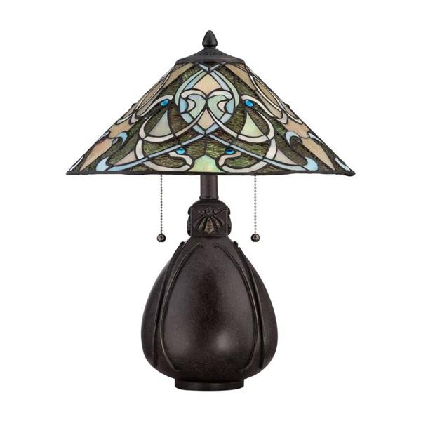 Quoizel India 19.5-in with Imperial Bronze Base and Multi Coloured Glass Shade Table Lamp