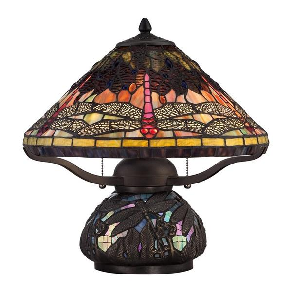 Quoizel Copperfly 24-in Russet 2-Light Table Lamp with Glass Shade