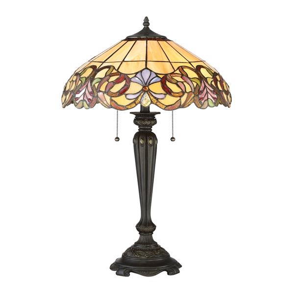 Quoizel Blossom 27-in Architectural Bronze Glass Shade 2-Light Tiffany Style Table Lamp