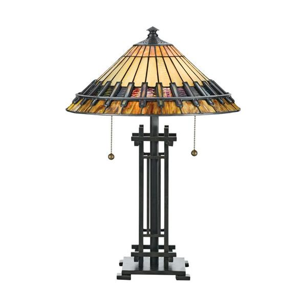 Quoizel Chastain 22.5-in with Bronze Patina Base and Multi Coloured Shade Tiffany Style Table Lamp