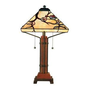 Quoizel Grove Park 25-in with Valiant Bronze Base and Multi Coloured Glass Shade 2-in Light Table Lamp