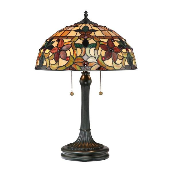 Quoizel Kami 23-in Vintage Bronze Table Lamp with Glass Shade