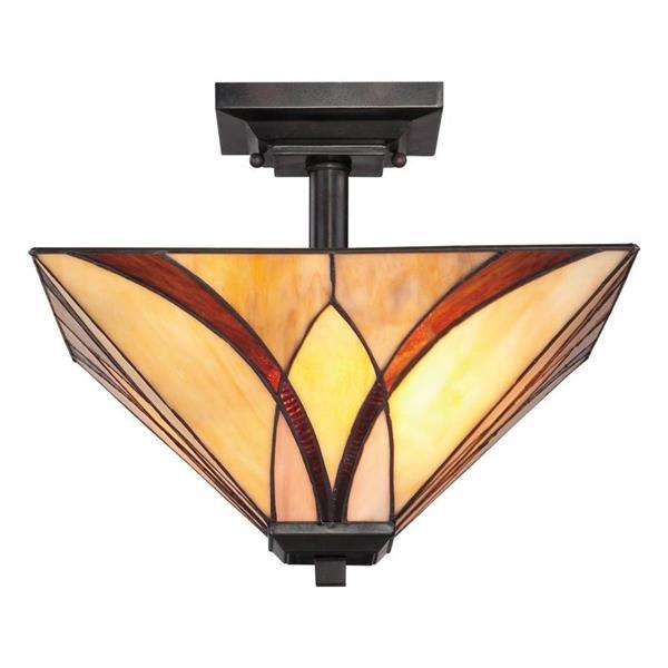 Quoizel Asheville 2-Light Bronze 14-in x 14-in x 12-in Semi-Flush Mount