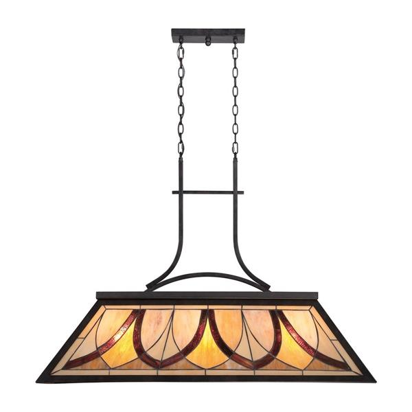 Quoizel Asheville 44-in W 3-Light Valiant Bronze Tiffany Kitchen Island Light with Tiffany-Style Shade