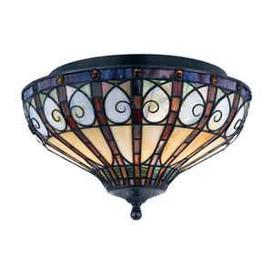 Quoizel Ava 14-in W Vintage Bronze Tiffany Style Flush Mount