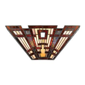 Quoizel Classic Craftsman 16.3-in 1 Light Tiffany-Style Pocket Wall Sconce