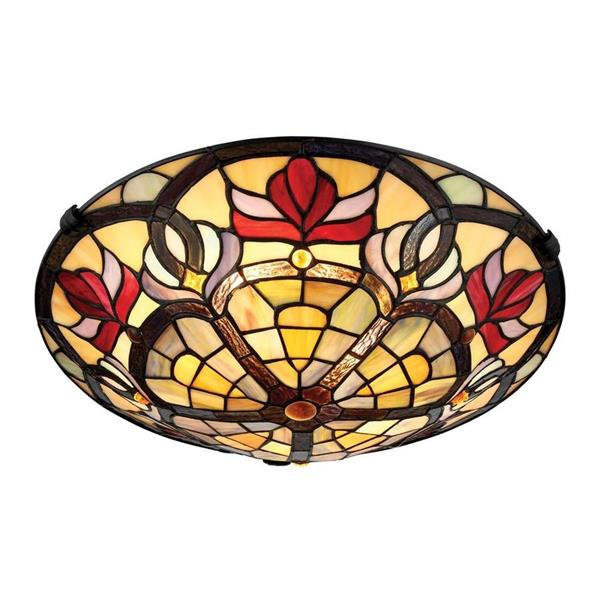 Quoizel Garland 16-in W Vintage Bronze Tiffany-Style Flush Mount
