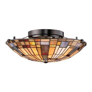 Quoizel Inglenook 2-Light Bronze 16-in x 16-in x 6-in Semi-Flush Mount