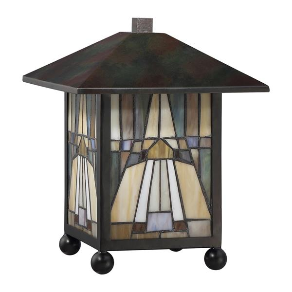 Quoizel Inglenook 8.5-in Valiant Bronze Frame with Multi Coloured Glass Desk Lamp