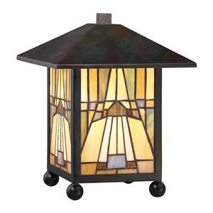 Quoizel Inglenook 8.5-in Valiant Bronze Frame with Multi Coloured Glass Desk Lamp