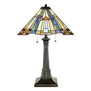 Quoizel Inglenook 25-in Valiant Bronze 2-Light Table Lamp with Tiffany-Style Shade