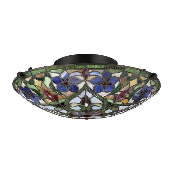 Quoizel Violets 16.25-in W Vintage Bronze Tiffany Style Flush Mount Light
