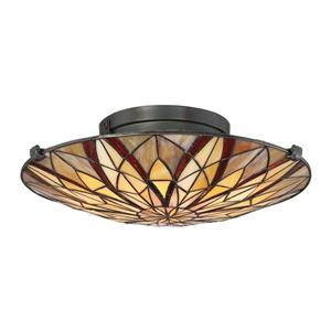Quoizel Victory 2-Light Bronze 16-in x 16-in x 5-in Semi-Flush Mount