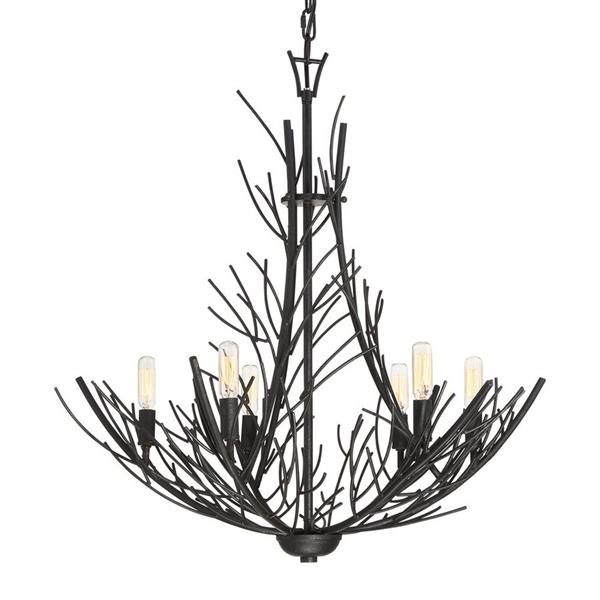 Quoizel Stephen 48-in Black Marcado 6-Light Traditional Stained Glass Shaded Chandelier