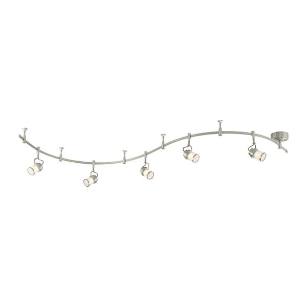 Quoizel Theater 108-in Brushed Nickel 5-Light Dimmable LED Track Bar Fixed Track Light Kit