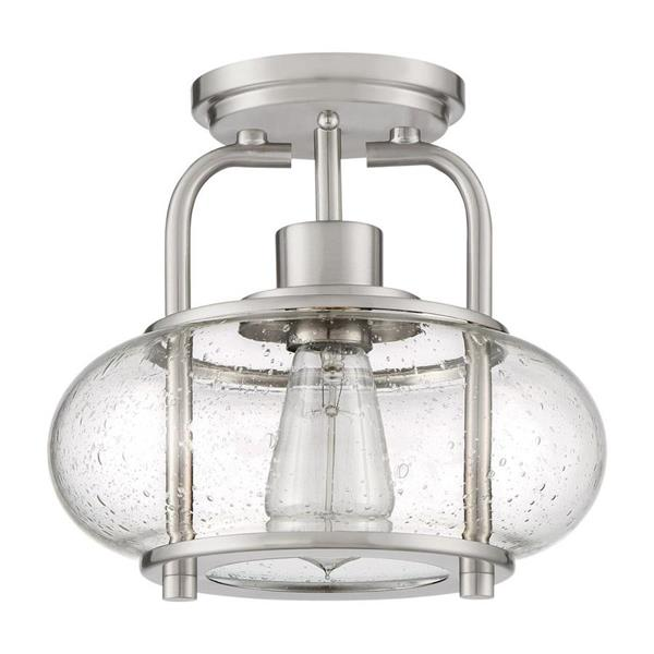 Quoizel Trilogy 1-Light Brushed Nickel 10-in x 10-in x 9-in Semi-Flush Mount