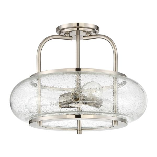 Quoizel Trilogy 3-Light Brushed Nickel 16-in x 16-in x 12-in Semi-Flush Mount
