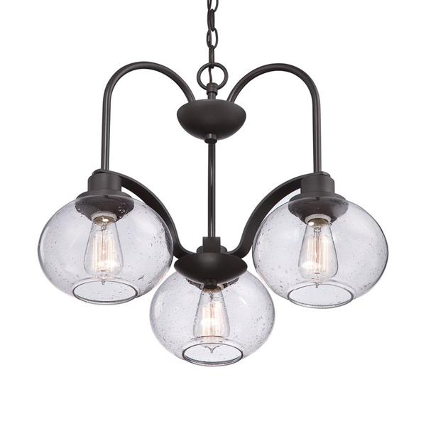 Quoizel Cascadia Lighting Trilogy 48-in Brushed Nickel 5-Light Transitional Seeded Shaded Chandelier